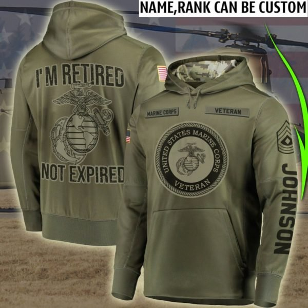 Custom I'm retired not expired us marine corps veteran all over print hoodie 1