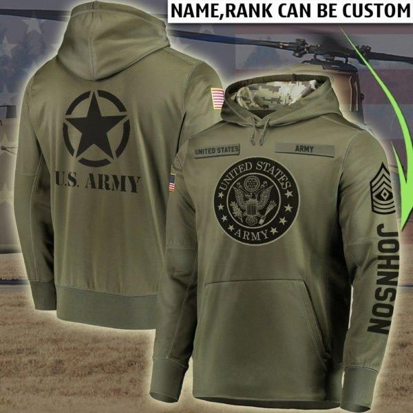 Custom us army all over printed hoodie