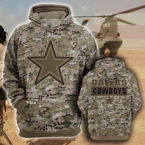 Dallas cowboys camo full printing hoodie 1