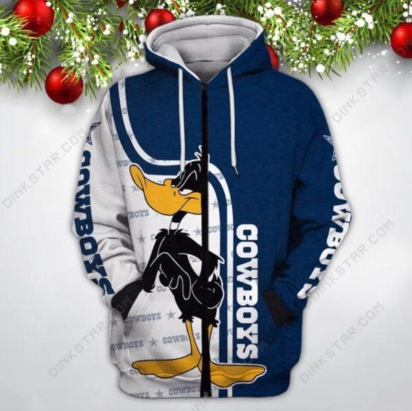 Dallas cowboys nfl daffy duck full printing zip hoodie