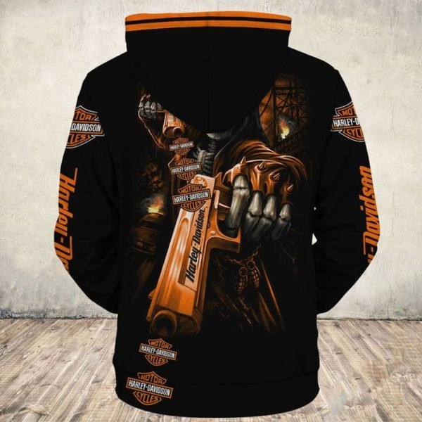 Death skull gun harley-davidson full printing hoodie 1