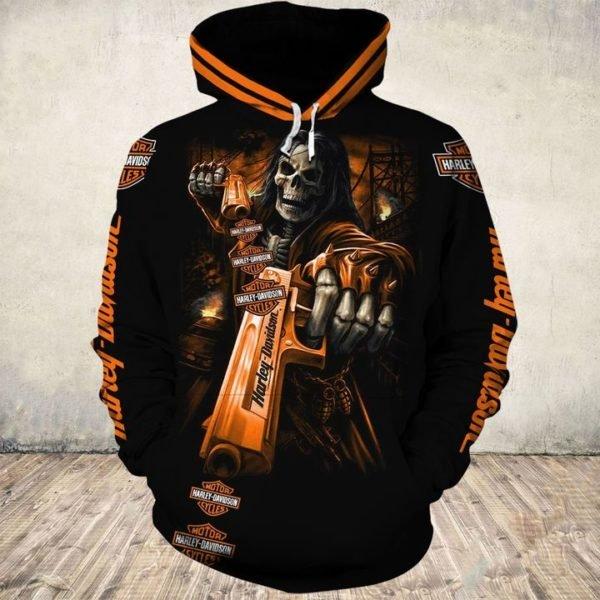 Death skull gun harley-davidson full printing hoodie