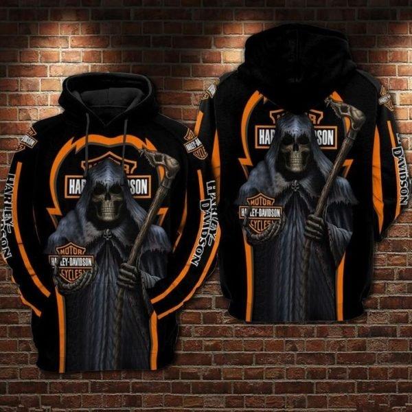 Death skull harley-davidson motorcycles 3d full printing hoodie