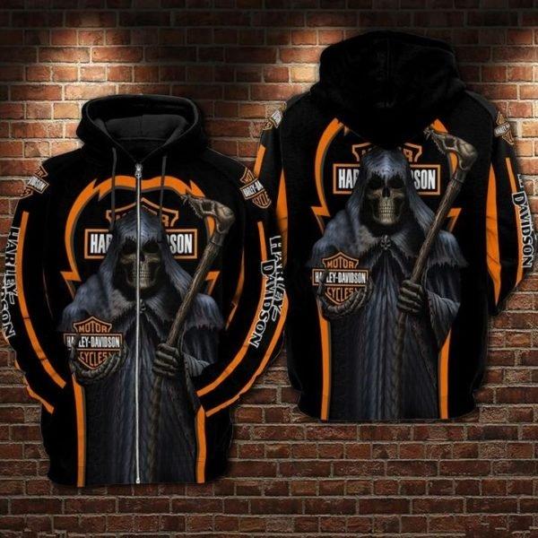 Death skull harley-davidson motorcycles 3d full printing zip hoodie