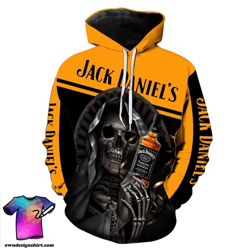 Death skull jack daniel's all over printed shirt
