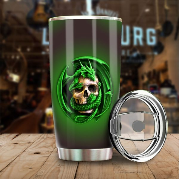 Dragon and skull stainless steel tumbler 1