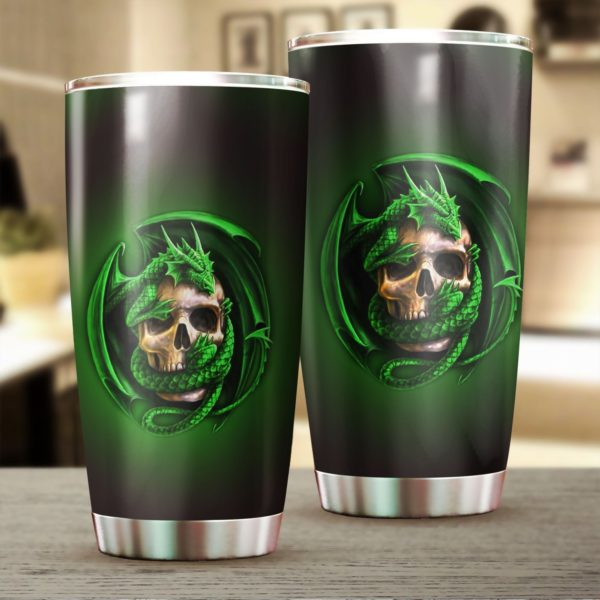Dragon and skull stainless steel tumbler 4