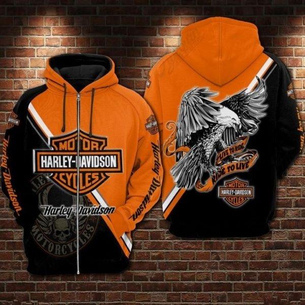 Eagle harley-davidson motorcycles 3d full printing zip hoodie