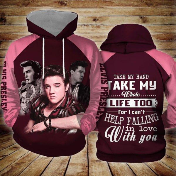 Elvis presley take my hand take my whole life too full printing hoodie