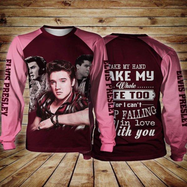 Elvis presley take my hand take my whole life too full printing sweatshirt