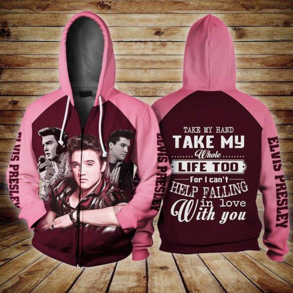 Elvis presley take my hand take my whole life too full printing zip hoodie