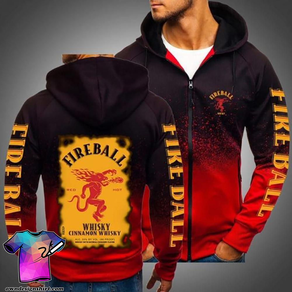 Fireball whisky cinnamom full printing shirt