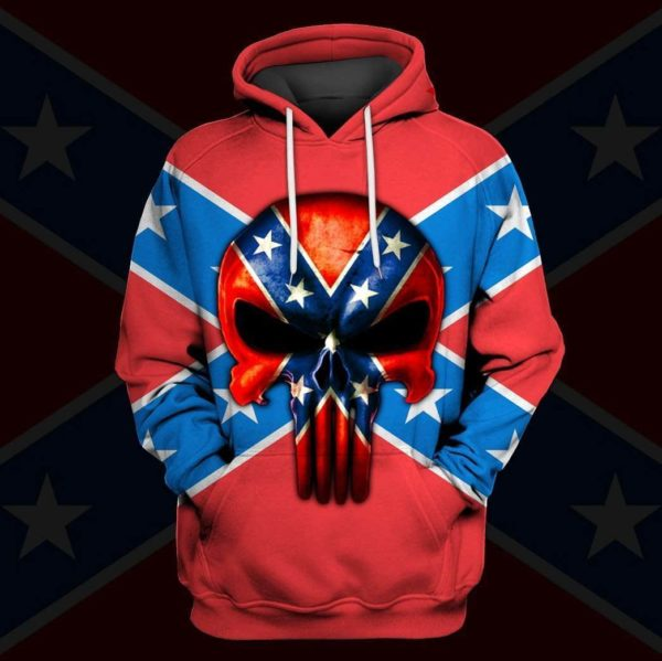 Flags of the confederate states of america skull all over print hoodie