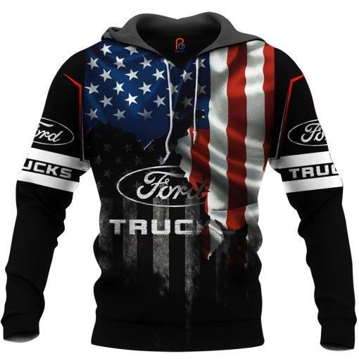 Ford truck american flag full printing hoodie