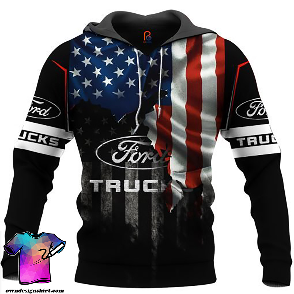 Ford truck american flag full printing shirt
