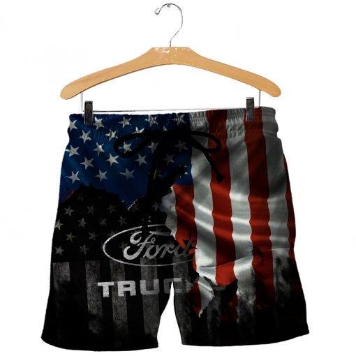Ford truck american flag full printing shorts