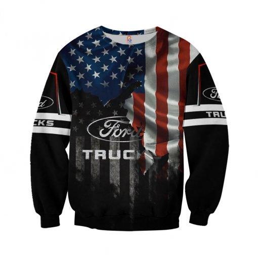 Ford truck american flag full printing sweatshirt