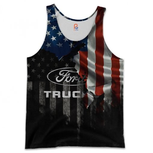 Ford truck american flag full printing tank top