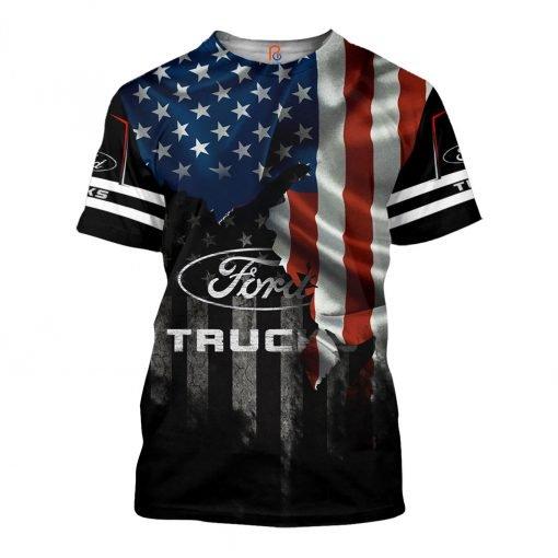 Ford truck american flag full printing tshirt