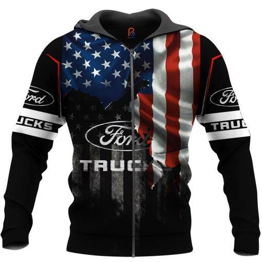 Ford truck american flag full printing zip hoodie