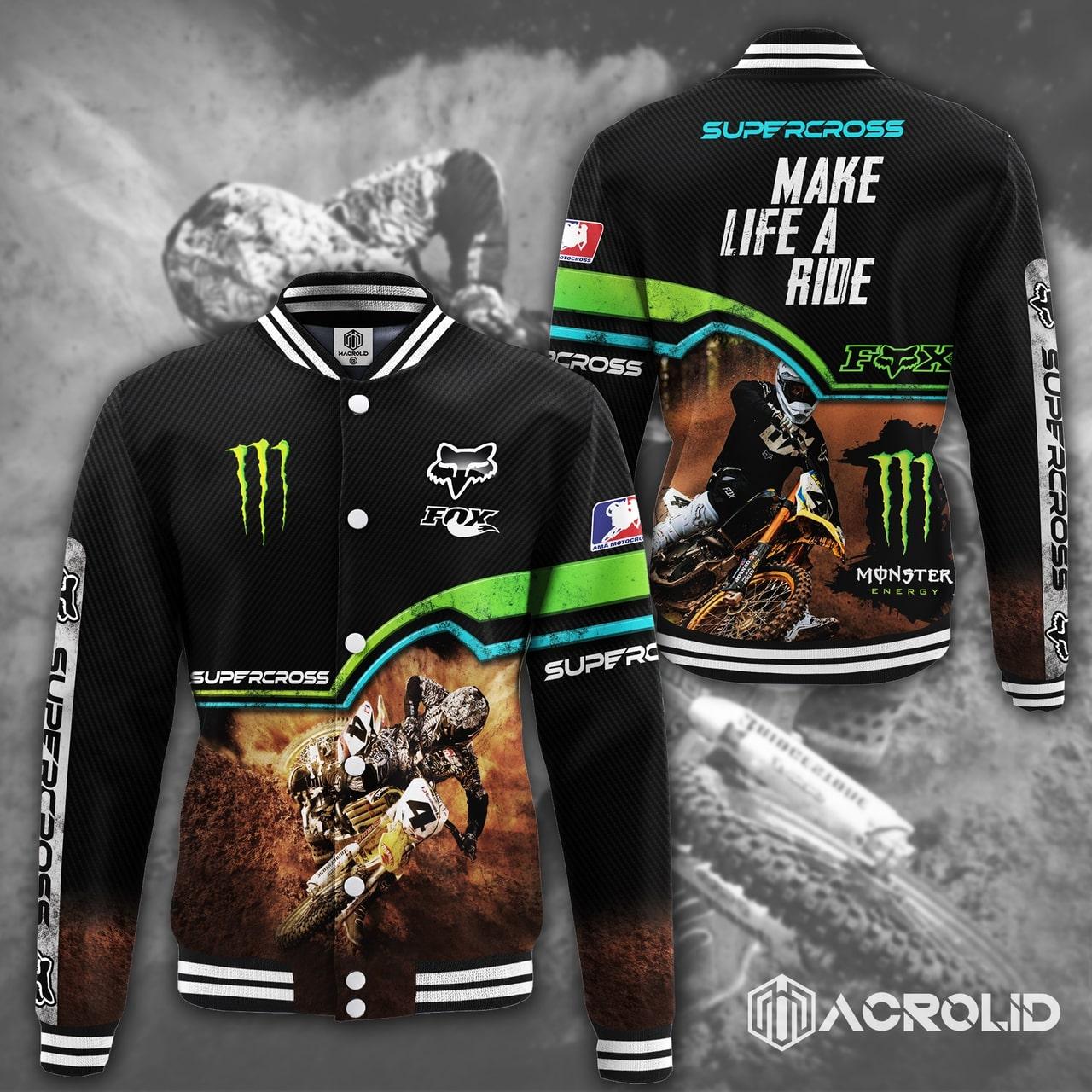 Fox racing monster energy make life a ride full printing baseball jacket