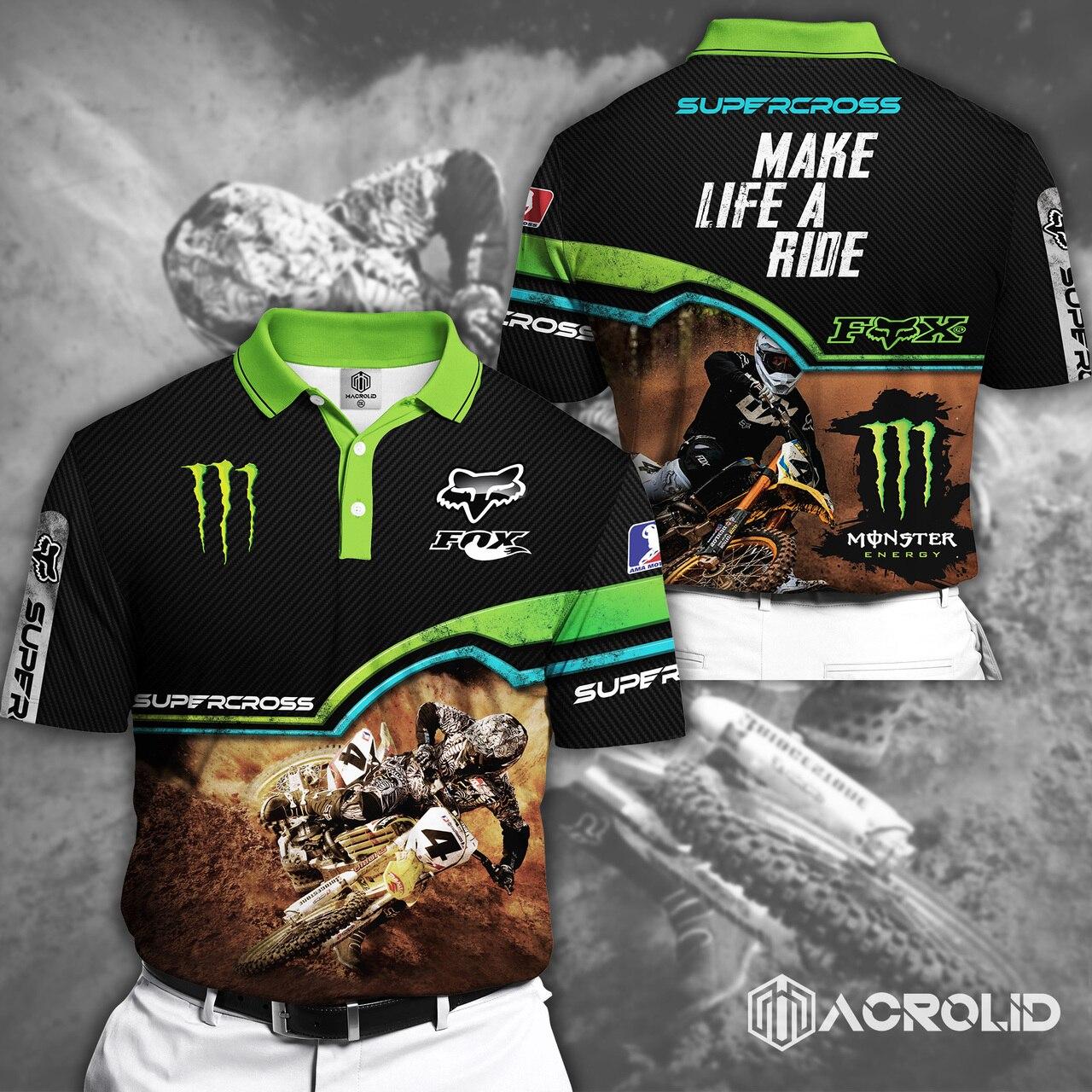 Fox racing monster energy make life a ride full printing polo