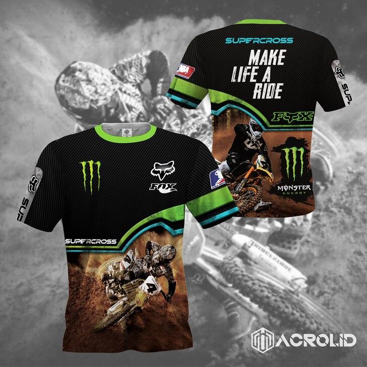 Fox racing monster energy make life a ride full printing tshirt