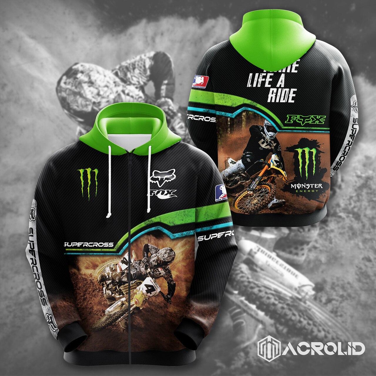 Fox racing monster energy make life a ride full printing zip hoodie