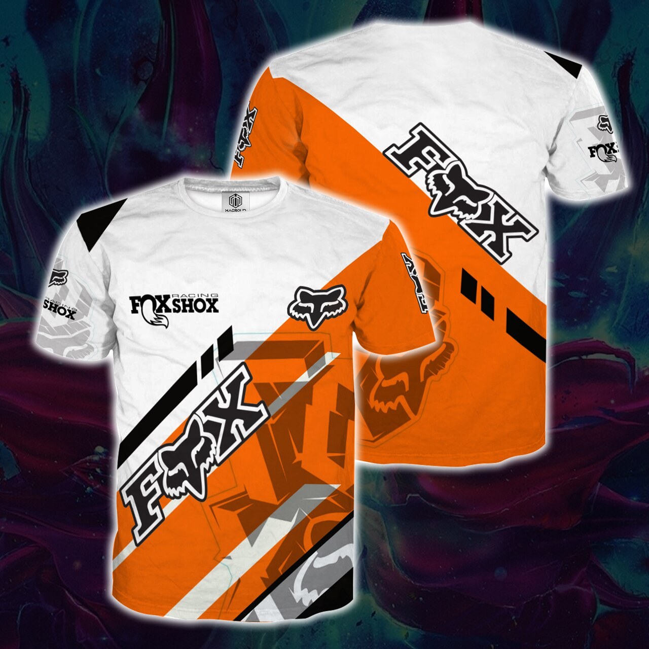 Fox racing motocross full printing tshirt