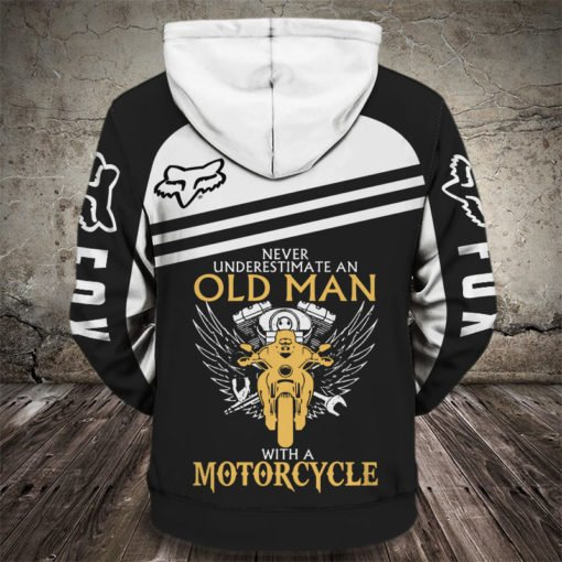 Fox racing never underestimate an old man with a motorcycle all over print hoodie 2
