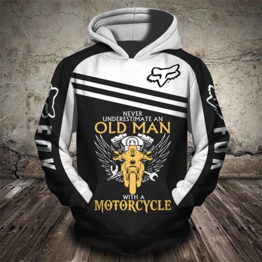 Fox racing never underestimate an old man with a motorcycle all over print hoodie