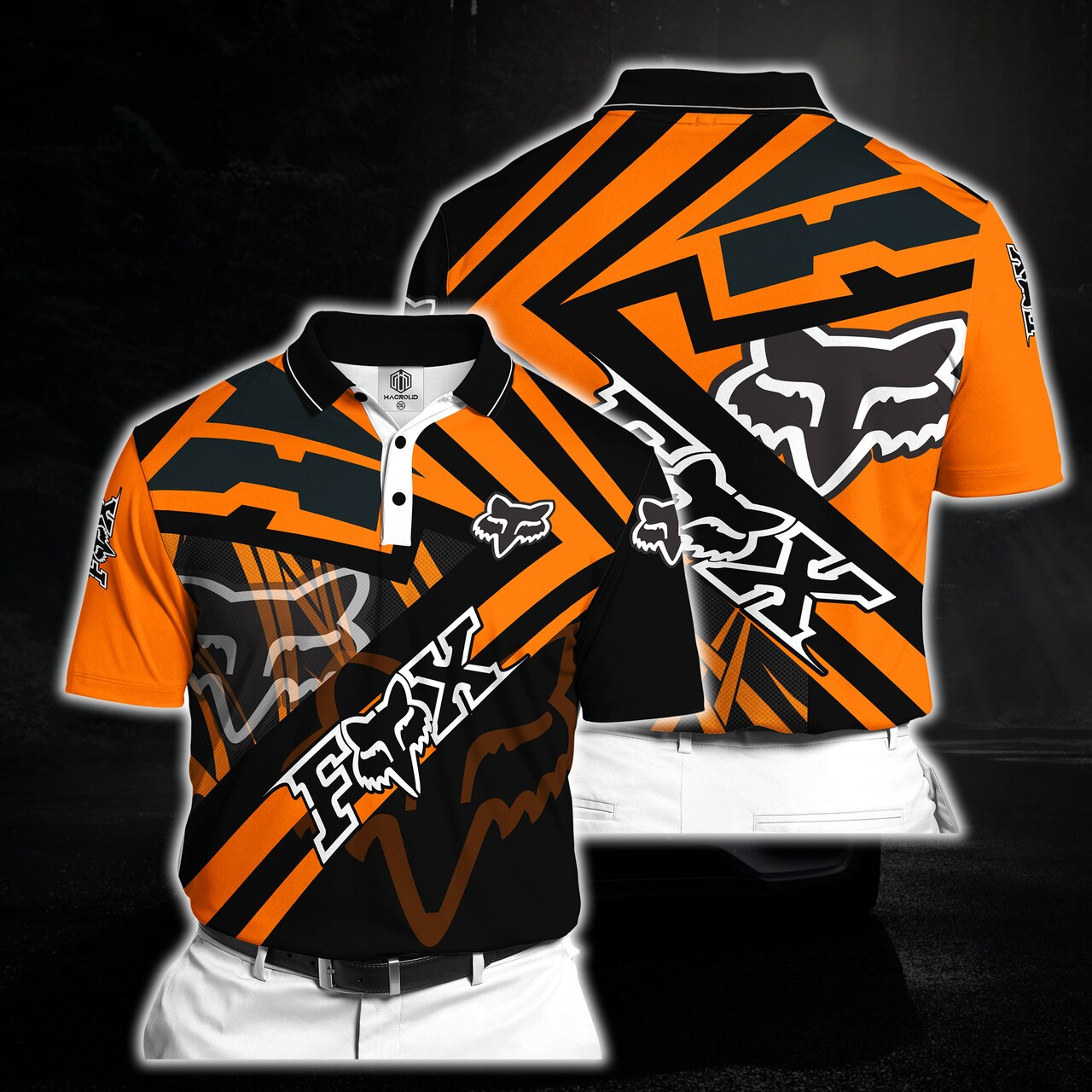 Fox racing riding full printing polo