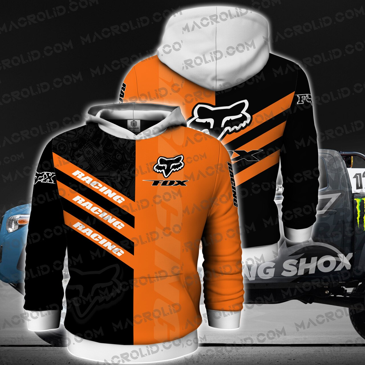 Fox racing riding logo full printing hoodie