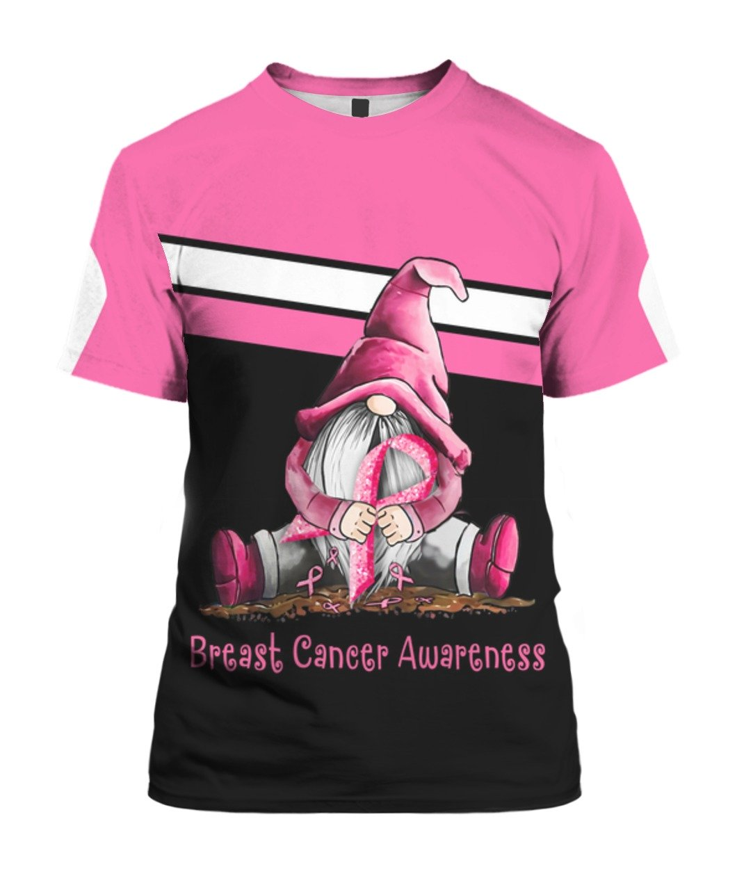 Gnome breast cancer awareness full printing tshirt