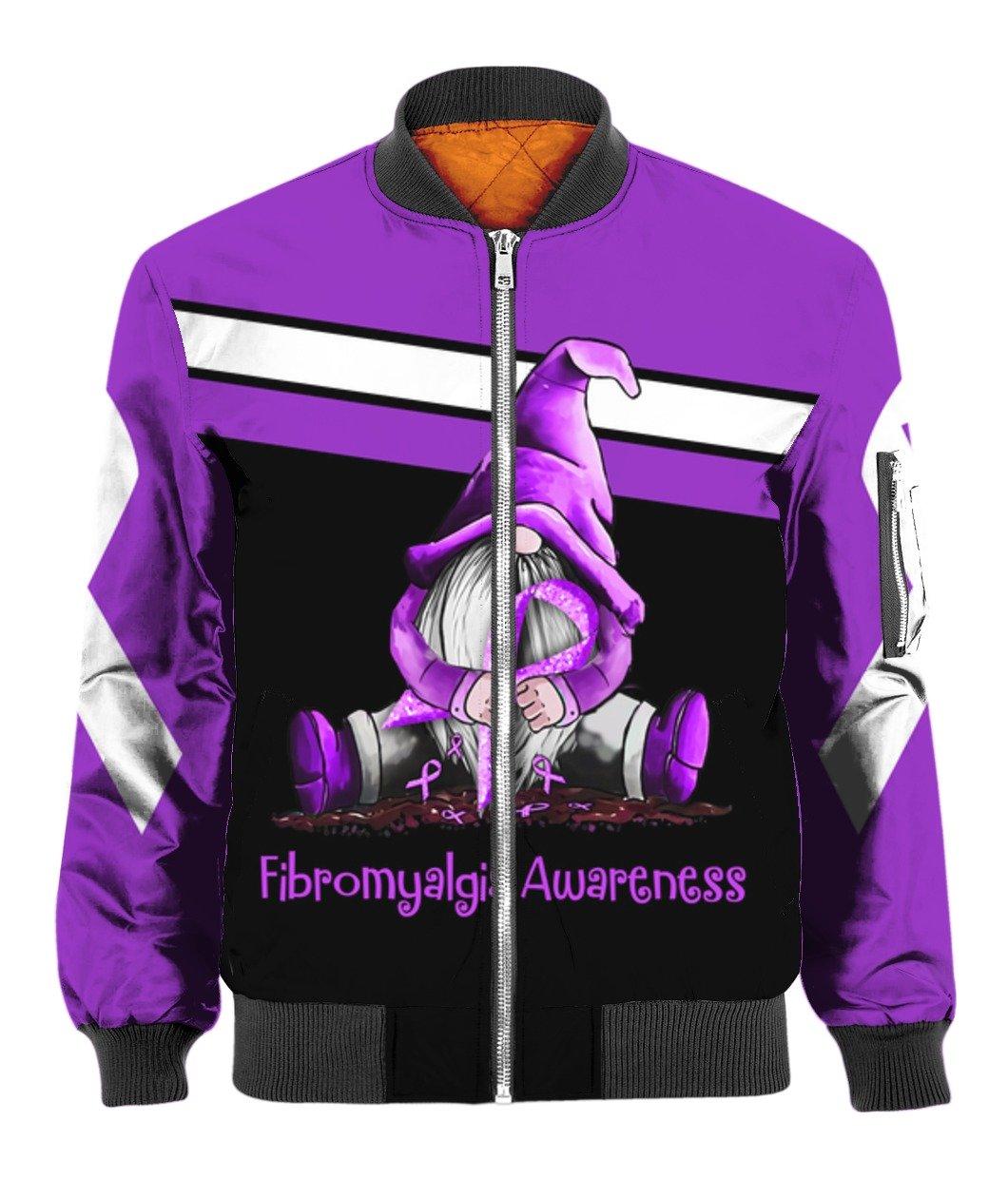 Gnome fibromyalgia awareness full printing bomber