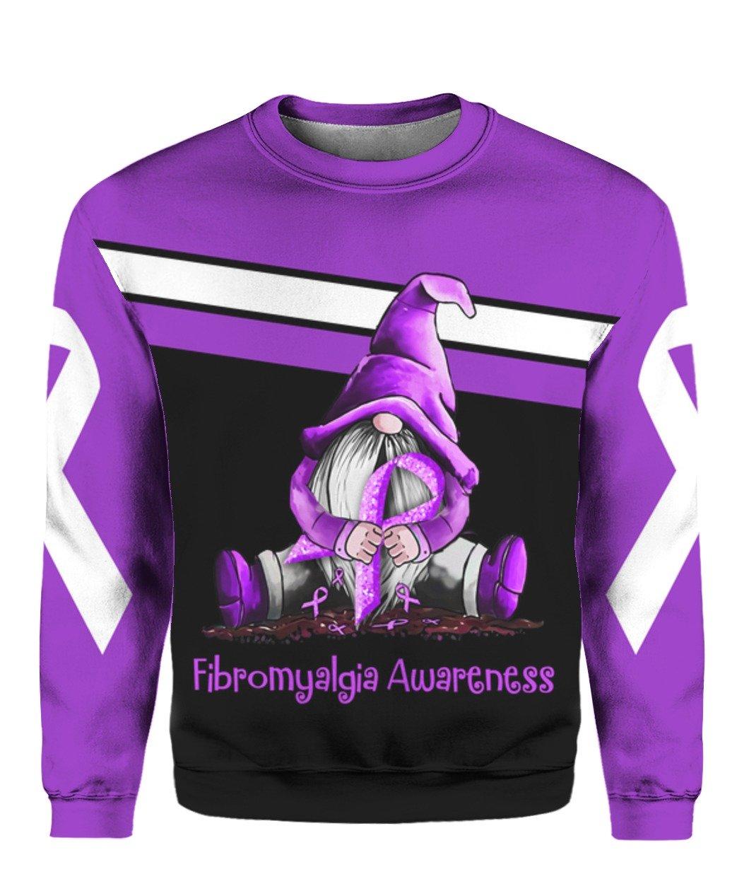 Gnome fibromyalgia awareness full printing sweatshirt