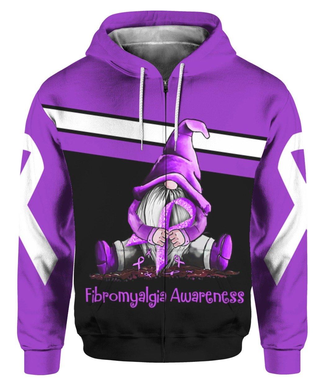 Gnome fibromyalgia awareness full printing zip hoodie