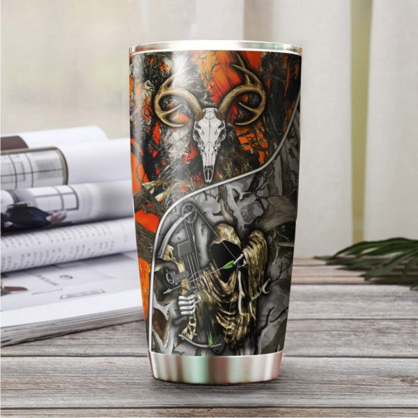 Grim reaper bow hunter camo stainless steel tumbler 1