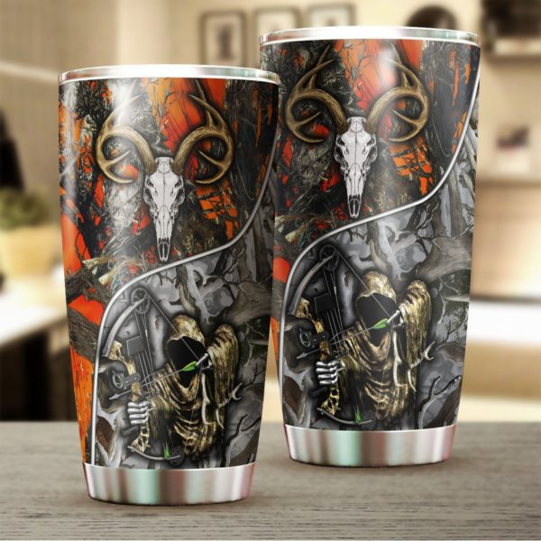 Grim reaper bow hunter camo stainless steel tumbler 4
