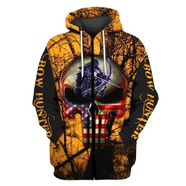 Grim reaper bow hunter full printing zip hoodie