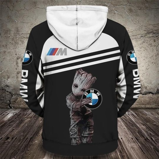 Groot and bmw car logo full printing hoodie 3