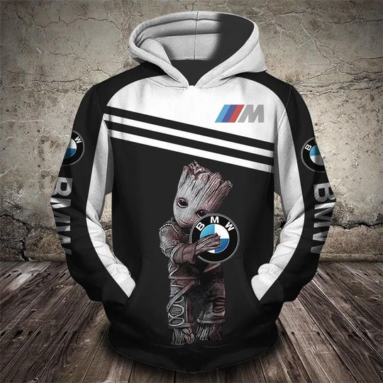 Groot and bmw car logo full printing hoodie
