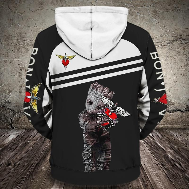 Groot and bon jovi rock band full printing hoodie 3