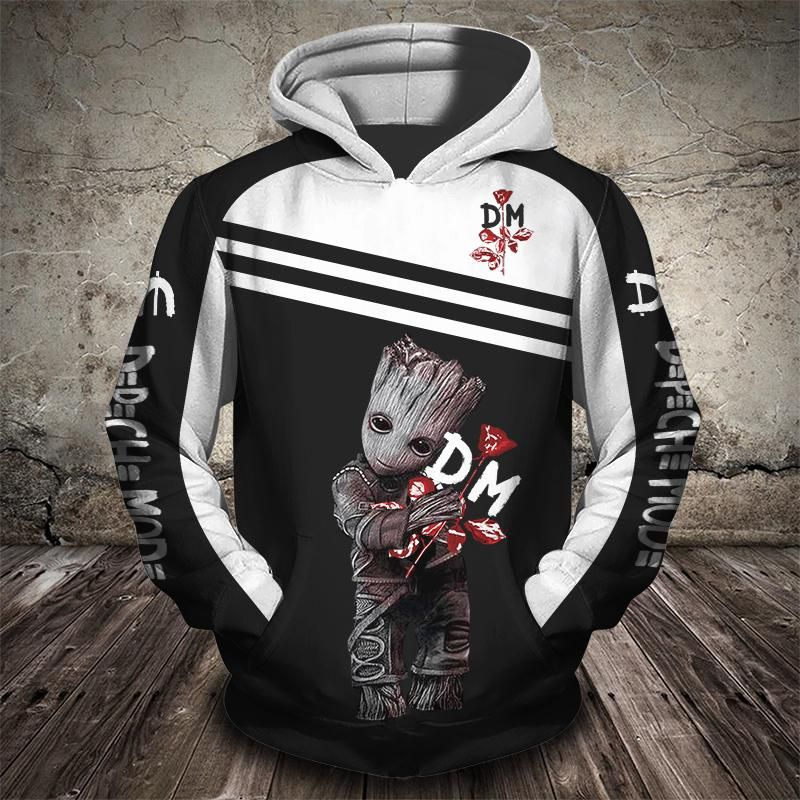 Groot and depeche mode rock band full printing hoodie 1