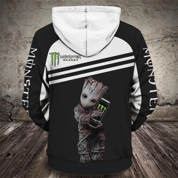 Groot and monster energy logo full printing hoodie 1