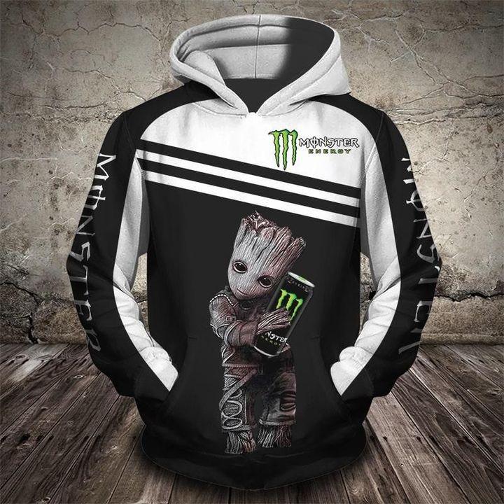 Groot and monster energy logo full printing hoodie