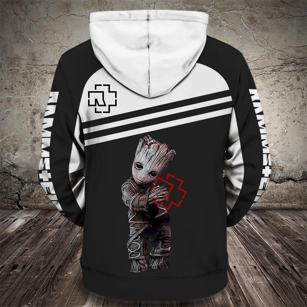Groot and rammstein rock band full printing hoodie 3