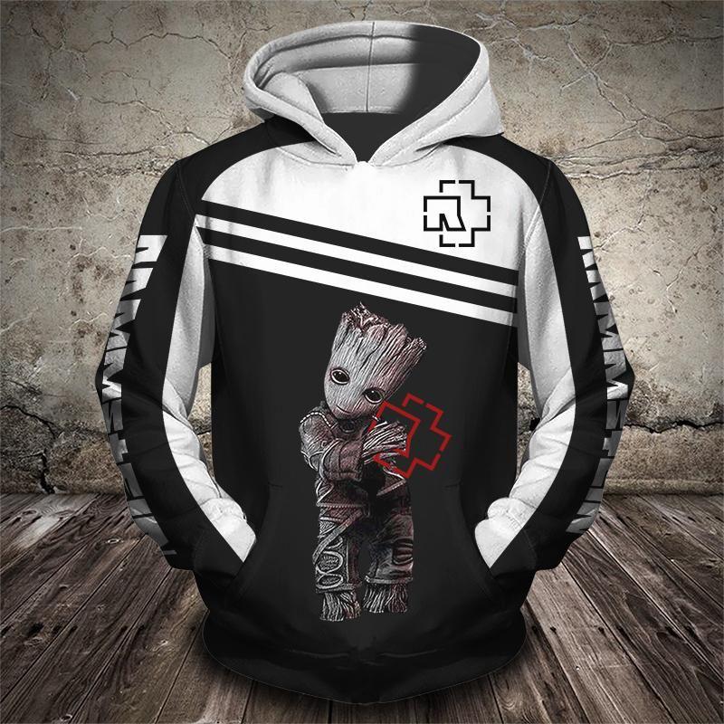 Groot and rammstein rock band full printing hoodie