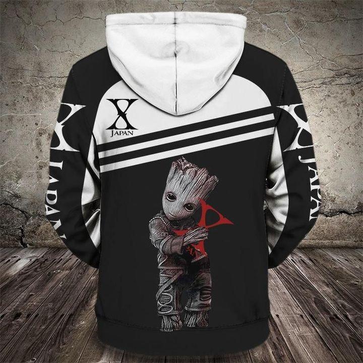 Groot and x japan rock band full printing hoodie 1