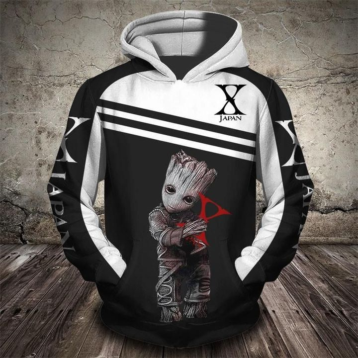 Groot and x japan rock band full printing hoodie